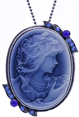 lady cameo Pendant Blue cameo Faux Victorian Cameo Pendant