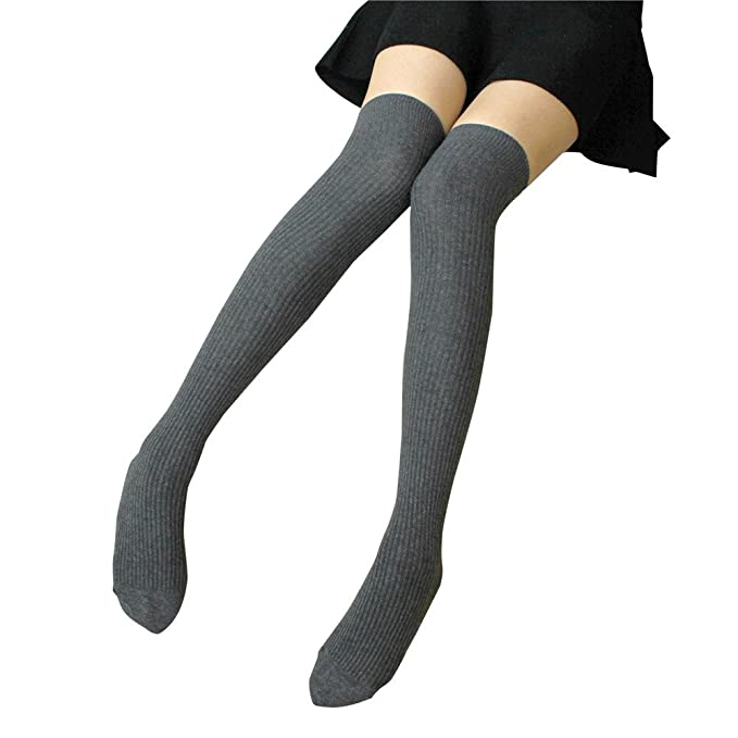 DOGZI Mujer Calcetines sobre la rodilla medias algodón mujer Calcetines hasta el muslo Raya Chicas Calcetines de fútbol Blanco negro Anti-dobladillo ...