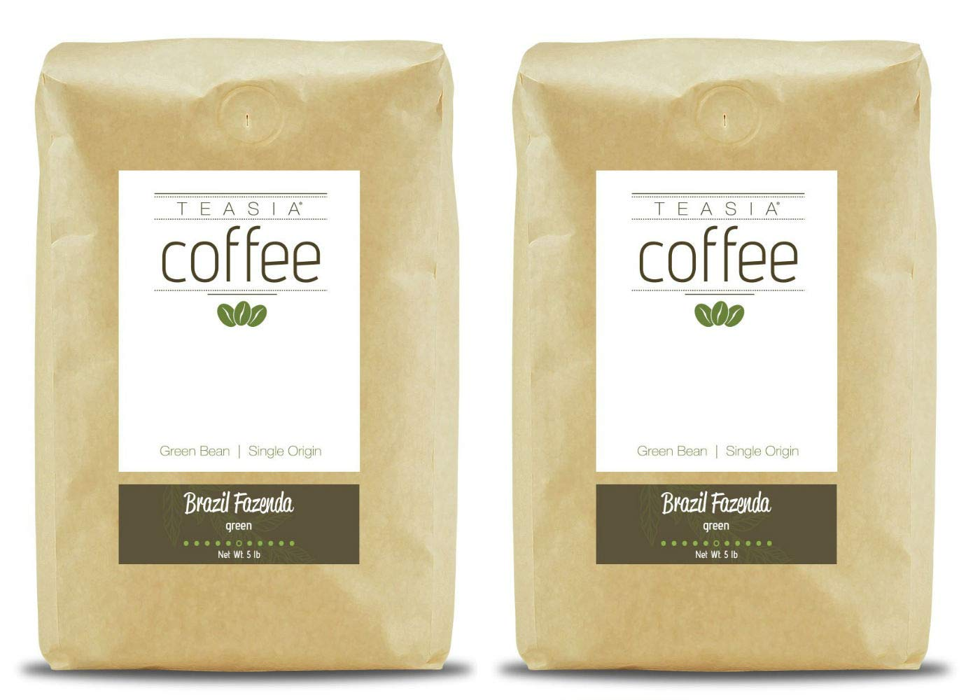 Teasia Coffee, Brazil Fazenda, 2-Pack, Single Origin, Green Unroasted Whole Coffee Beans, 5-Pound Bag