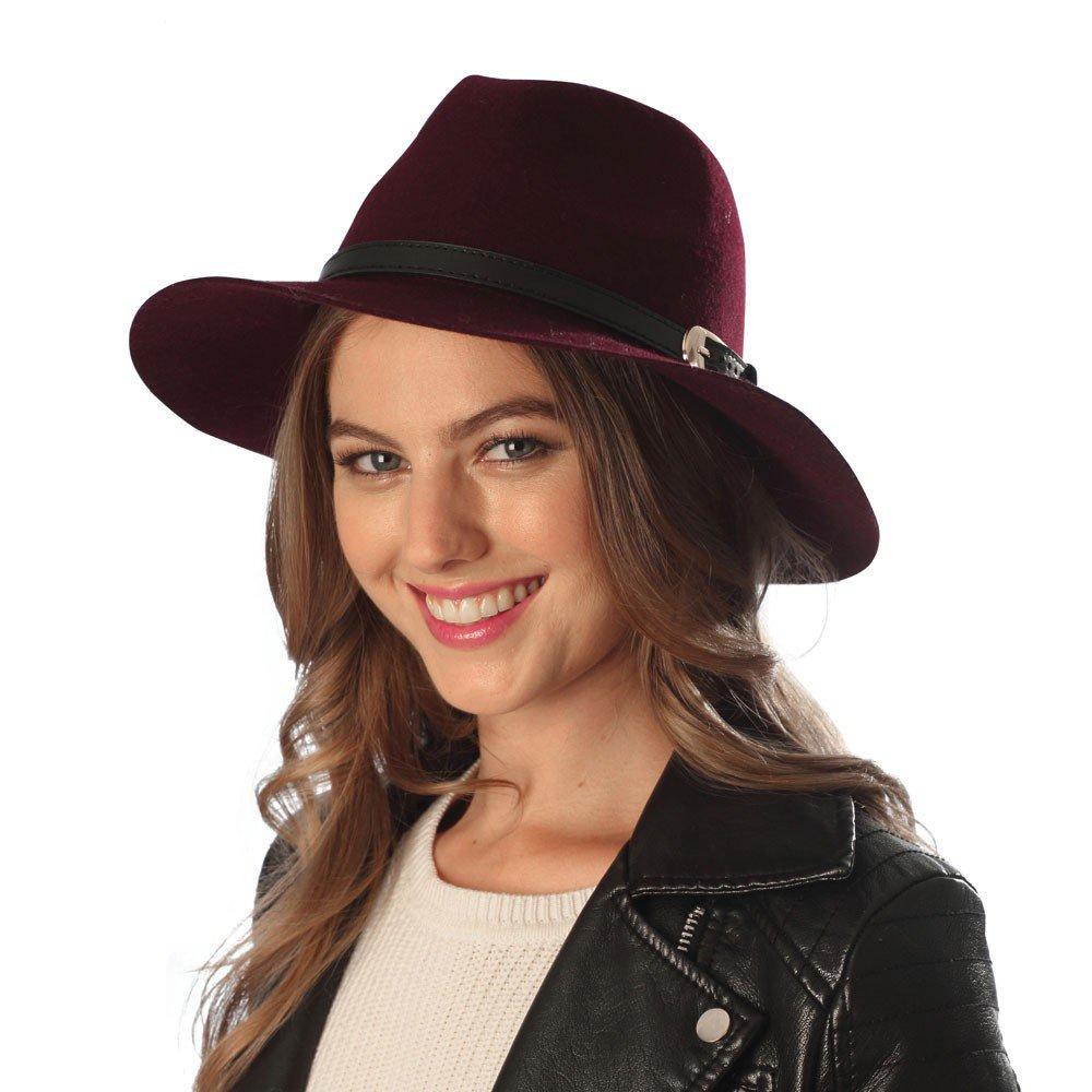 Outcrews Women's 100% Wool Felt One Size Adjustable Fedora Hat W/ Belt & Buckle