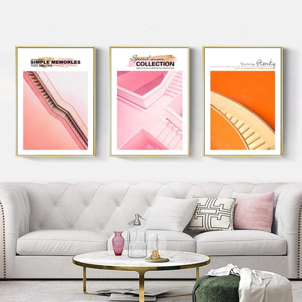SHBKGYDL Imprimir En Lienzo Impresiones De Lienzo,Escalera De Color Naranja Rosa Moderna, Hogar De Pared Decoración Art Deco Pintura Porche Restaurante Salón Dormitorio Comedor Pasarela: Amazon.es: Hogar