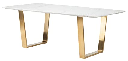 Amazoncom Catrine Dining Table In White Marble And Gold By Nuevo - White marble rectangular dining table