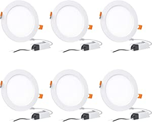 Hyperikon 6 Inch LED Recessed Lighting Slim Downlight, 80 Watt Replacement (14W) Dimmable Halo Lights with Junction Box, Ceiling Wafer Lights, 3000k, UL Listed, 6 Pack