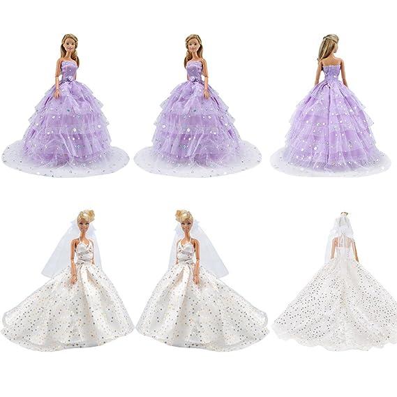 Amazon.es: E-TING princesa vestido de Novia de encaje Floral vestido con Paillette Barbie Cenicienta de ropa de noche de fiesta traje para real bola de ...