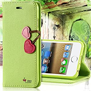 Cherry Heart Lovely Flip Leather Case For Apple iPhone 5 5S 4 4S For iphone 6 Wallet Stand Card Slot Magnetic Cover 6 Colors --- Color:black for iphone 6