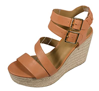 744e3340d82 City Classified Women s Justina Strappy Open Toe Platform Espadrille Wedge  Sandal Bottom Velcro Ankle Buckle