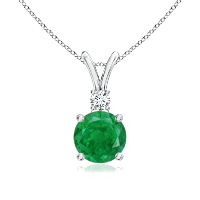 Angara Womens Emerald Solitaire Necklace for in Yellow Gold UdbTYhNq