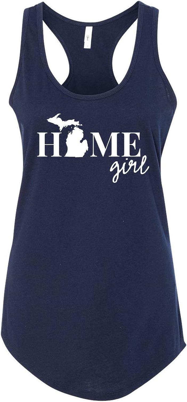Michigan Home Girl State Love/Pride Ladies Printed Graphic Next Level Sleeveless Racerback Tank Top