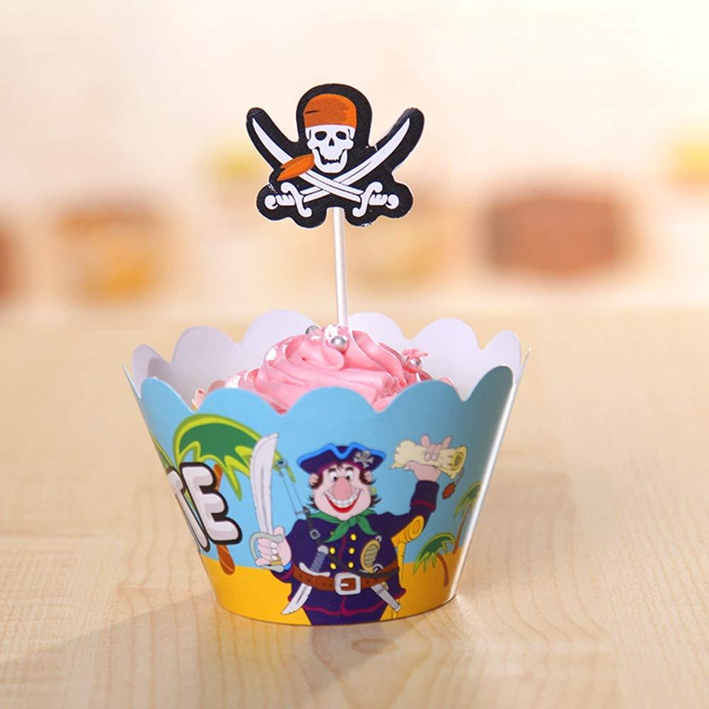 Paquete de 24 Decoraciones de Pastel de Fiesta de cumplea/ños Yeahibaby Envolturas de Cupcake Toppers de Pirata