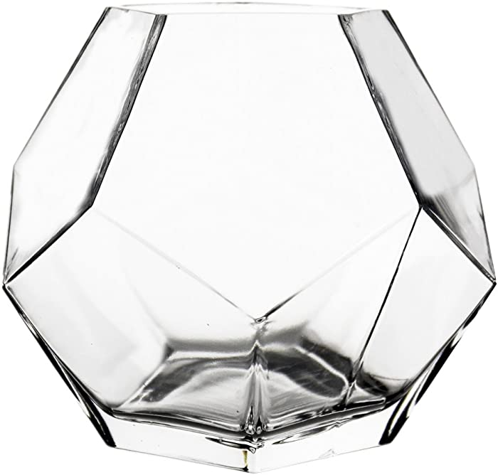 """CYS EXCEL 7"""" Clear Glass Geometric Terrarium Bowl (Pack of 1)   Prism Honeycomb Plant Vase   Hexagon Design Candle Holder Container"""
