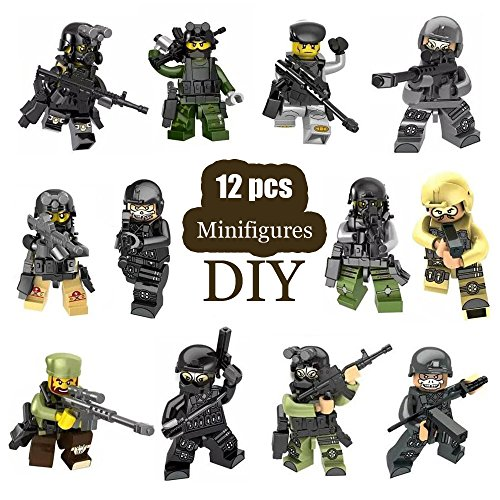 Minifigures Set - 12pcs Army Minifigures Building Bricks Toys Compatible Figures SWAT Team with Weapons Accessories Policeman (Policeman Accessories)