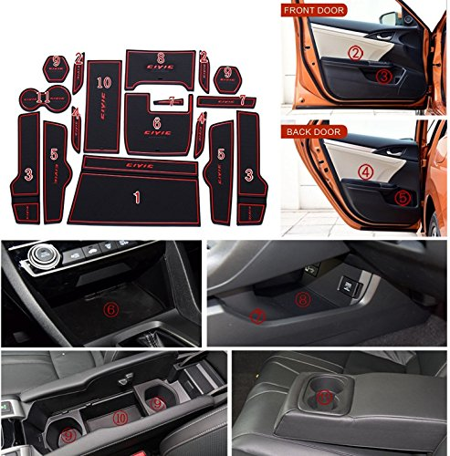 Cup Holder and Door Compartment Liner Accessories Kit for Honda Civic 2016-2018