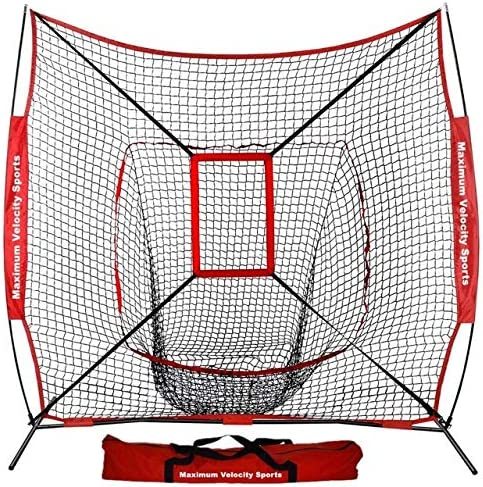 Maximum Velocity Sports 5 5 Baseball Softball Practice Net Hitting Batting Catching Pitching Training Net w Strike Zone Carry Bag Metal Bow Frame, Baseball Softball Equipment
