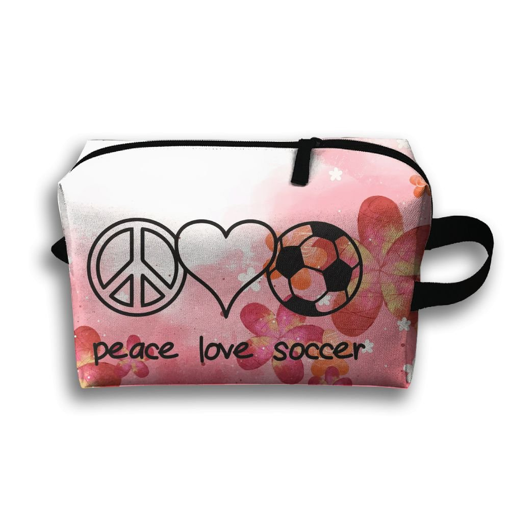 Peace Love Soccer Travel Bag Multifunction Portable Toiletry Bag Organizer Storage