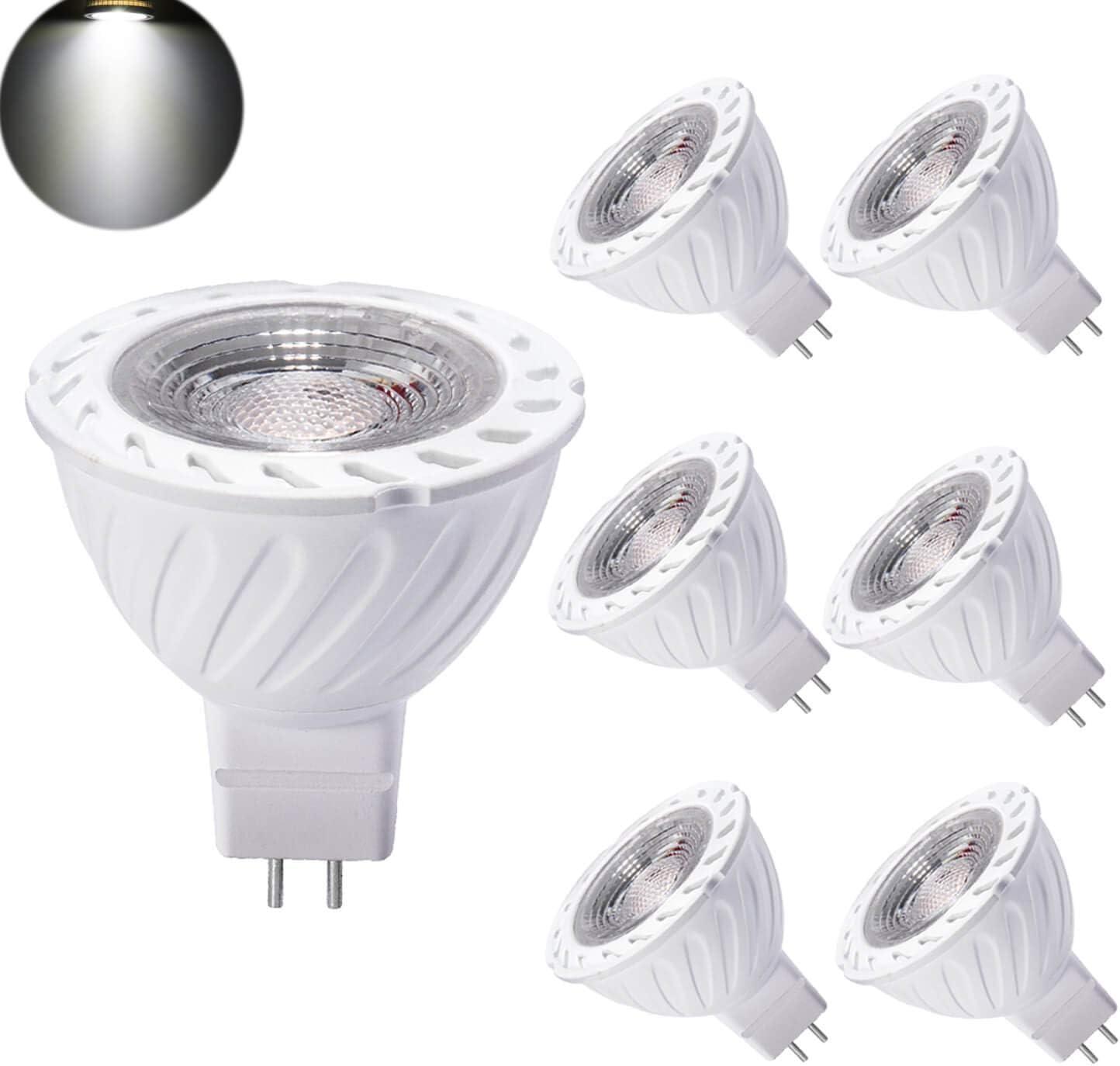 Yafido Bombilla LED GU5.3 MR16 12V Blanco Frio 7W Equivalente a Halogeno 50W Spot Luz 6000K GU 5.3 Foco Ojo de Buey COB 550Lumen Ø50 x 55mm Pack de 6