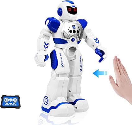 Cradream RC Robot Toys for Kids Remote Control Robots for Boys Girls Birthday Gift Blue Programmable Intelligent Walk Sing Dance Gesture Sensing Smart Robot with Infrared Controller