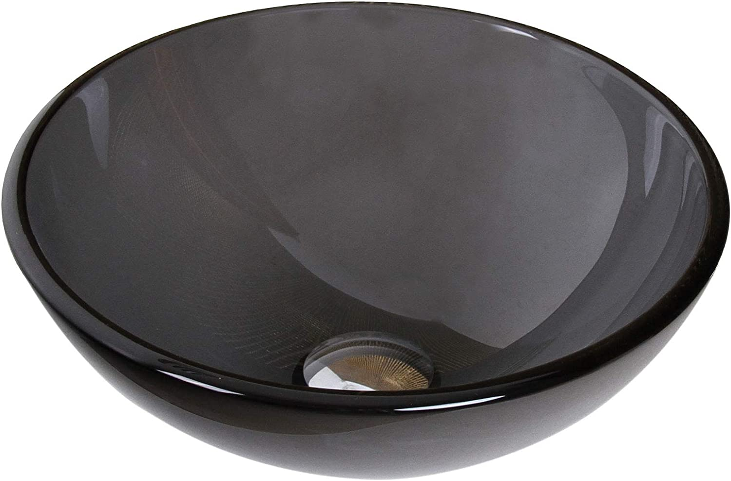 ELITE Bathroom Small 14 Clear Black Glass Vessel Sink Chrome Pop up drain Mounting ring