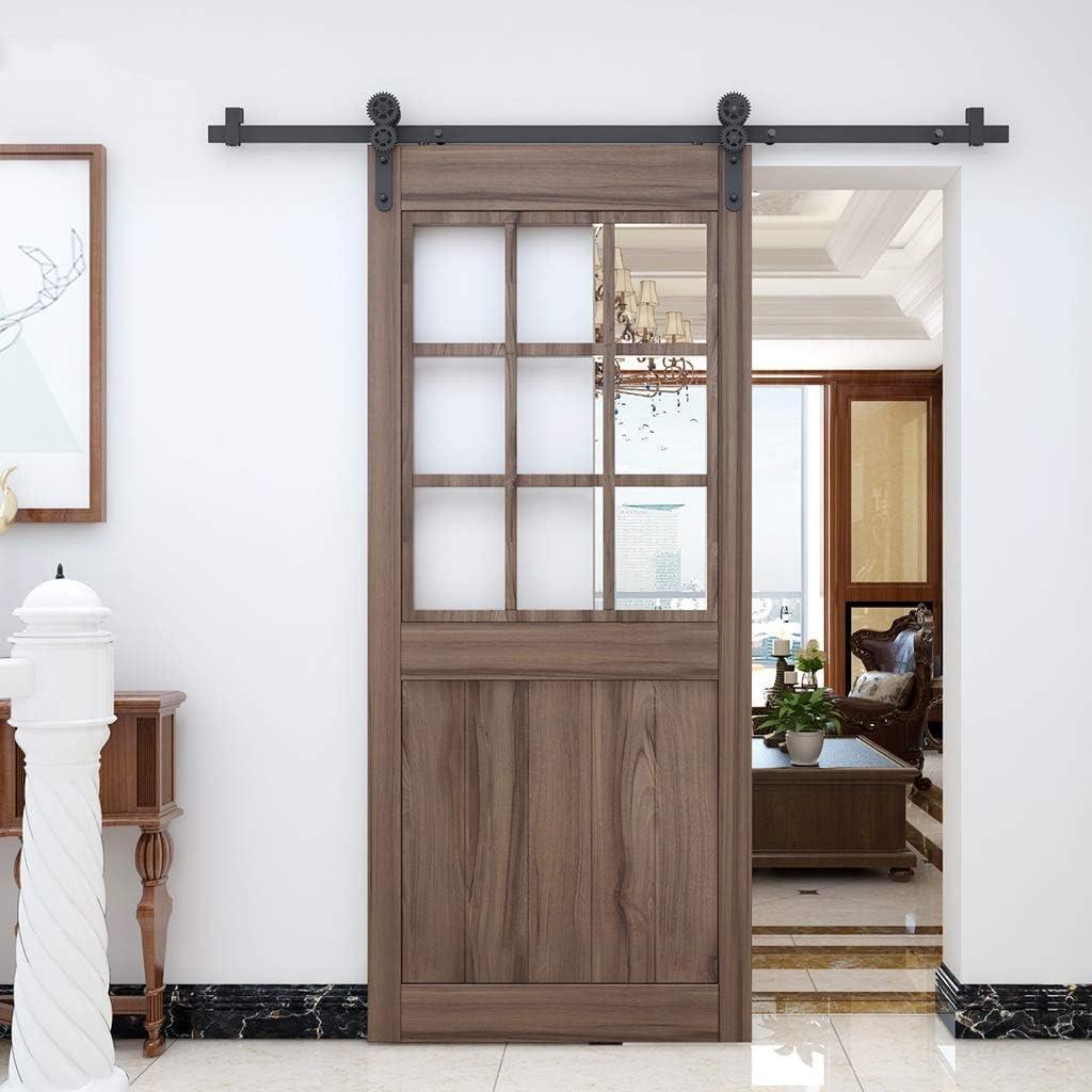Herraje para Puerta Corredera Kit Juego completo de engranajes con riel de puerta deslizante para granero de 150-366cm con kit de herrajes de amortiguación, riel colgante para puerta de empuje y tracc: