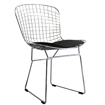 harry bertoia style wire side chair chrome white or black chrome