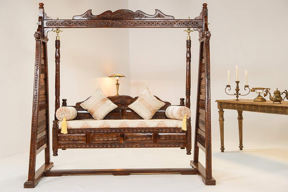 Antique Bench Swing Design Indoor Swings for Kids Non Steel Swingset Jhoola Radicaln 3-Seater Swing Set Rosewood 100/% Hand Crafted Natural Brown Home Furniture Large Wood Indoor Swing Jhula