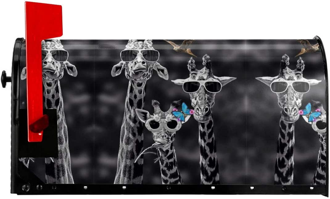 YangPa Black&White Sunglass Giraffes Family Summer Magnetic Mailbox Cover Garden Patio Home Decoration for Exterior One Size 21x18 Inch(25.5x21 in)