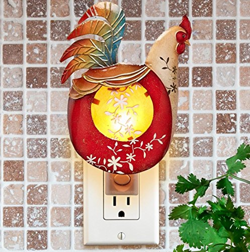 - CC Home Furnishings Pack of 2 Red and Gold Capiz Shell Rooster with Floral Accent Night Light 7