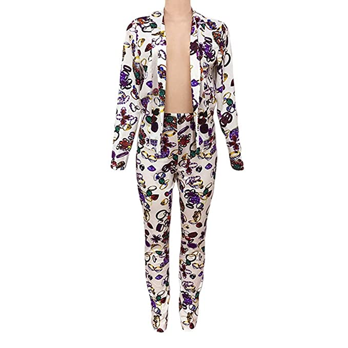 Amazon.com: Women Floral Printing Outfit Long Sleeve Suit ...