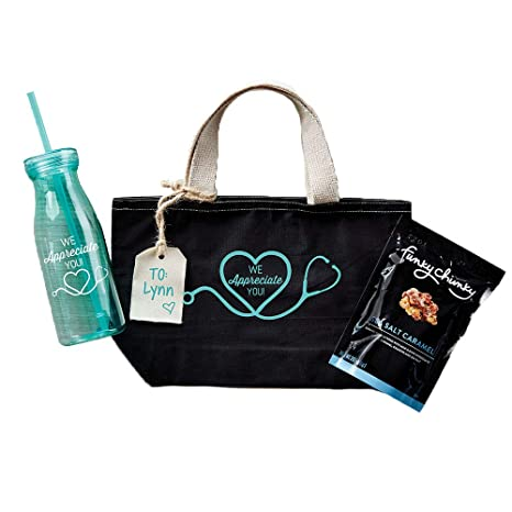 071b8ec989be Healthcare Nurse Gift Set - Black Canvas Tote Bag, Blue 18 oz. Tumbler with  Lid and Straw, 2oz. Funky Chunky Sea Salt Caramel Popcorn Snack Mix, and ...