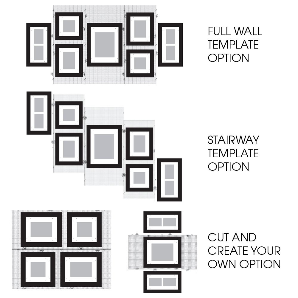 picture hanging template kit - gallery perfect 7 piece white wood photo frame wall