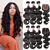 Beauty Princess Brazilian Body Wave with Closure 8a Unprocessed Brazilian Virgin Hair 3 Bundles with Middle Part Closure Natural Black Human Hair Bundles With Closure (16 18 20 with 14)