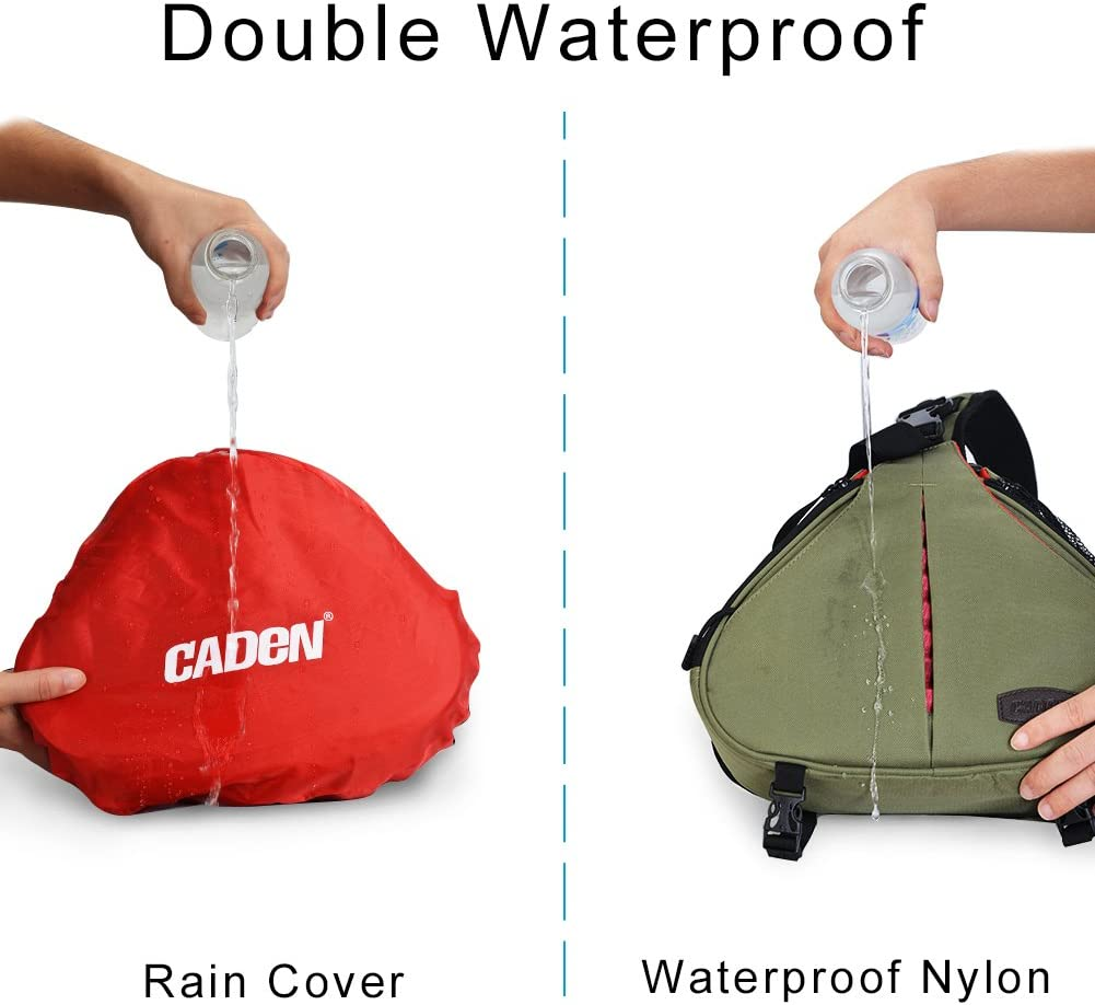 CADeN Camera Bag Sling Backpack Camera Case Waterproof with Rain Cover Tripod Holder, Compatible for DSLR/SLR Mirrorless Cameras (Canon Nikon Sony Pentax) and Accessories Green : Camera & Photo