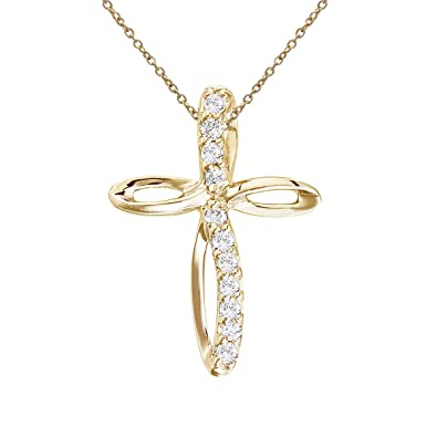 Amazon 14k yellow gold small swirl diamond cross pendant with 14k yellow gold small swirl diamond cross pendant with 18quot aloadofball Image collections
