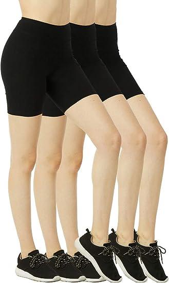 Women/'s High Waist Biker Shorts Cotton Mid Thigh Leggings Gym Anti-light Pants