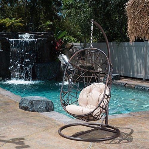 Plush Base (ModHaus Living Modern Metal Egg Wicker Chair Swing with Plush Cushion and Metal Base - Includes Pen)