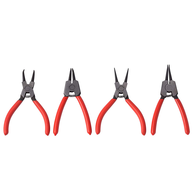 Maxpower Lot de 4 pinces /à circlips pour anneaux int/érieurs et ext/érieurs en acier au chrome vanadium 130 mm