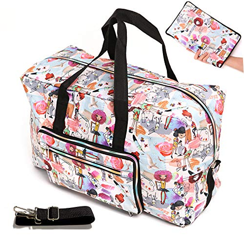 Womens Foldable Travel Duffel Bag 50L Large Cute Floral Travel Bag Hospital Bag Weekender Overnight Carry On Bag Checked Luggage Tote Bag For Girls Kids (painting girl) ()