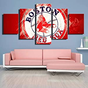 Premium Canvas Art Print Wall Deco XXL Giclee Canvas Print, Wall Art Canvas Picture 5 Pieces Canvas Modern Home Decor Boston Red Sox Red and White
