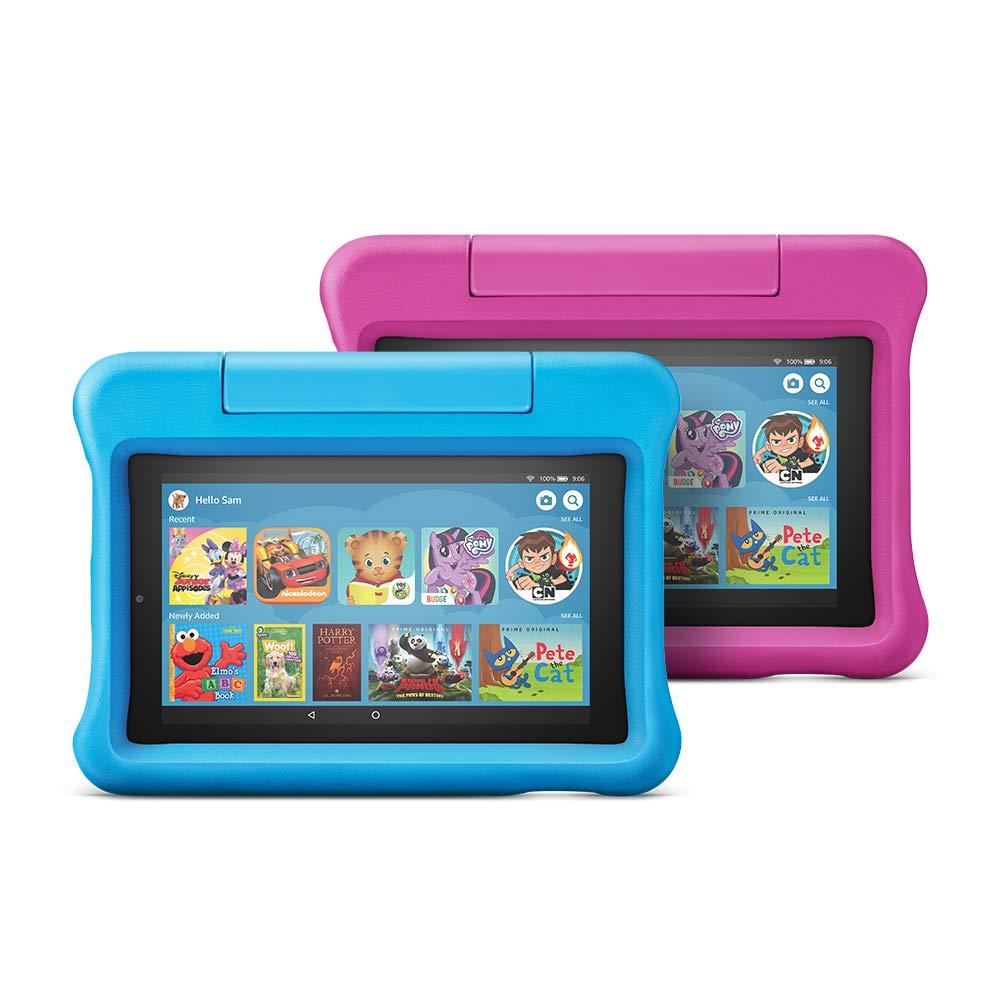 Nueva tableta Fire 7 Kids Edition, paquete de 2, 16 GB, estuche a prueba de niños azul / rosa
