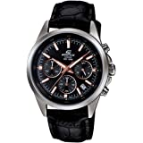 Casio Men's Quartz Watch, Analog Display and Leather Strap Efr-527L-1Avudf, Black Band