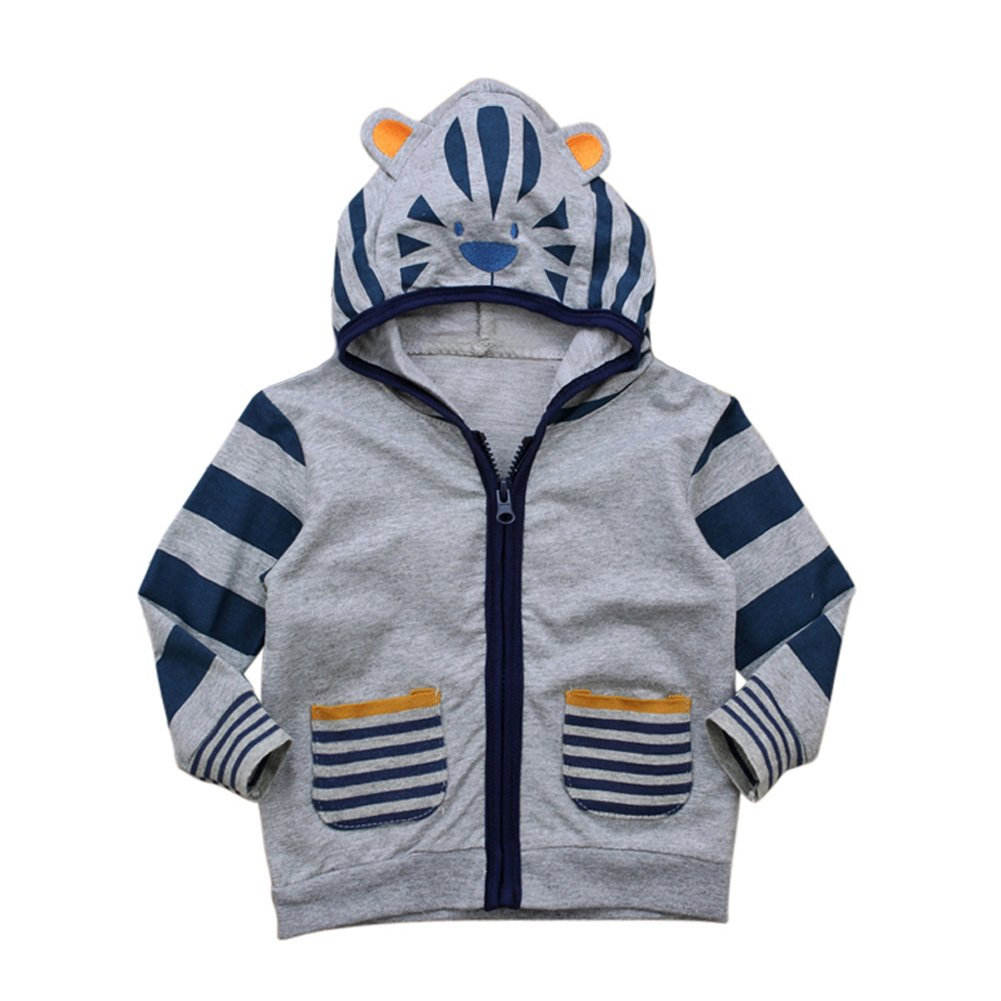 EITC Little Boys Long-Sleeved Zipper Coat Jacket Lion Round Neck lions Ear Hooded Outcoat For Toddler 1-6 Years