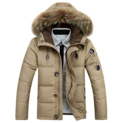 Chaquetas de pluma Abrigos cálidos para hombres Chaqueta de invierno Grueso cálido Patchwork Cuello de piel