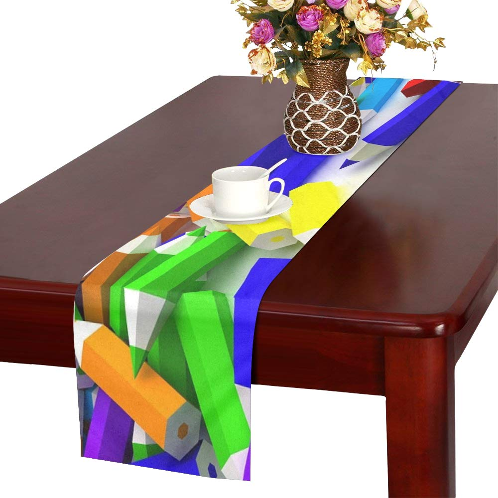 Colored Pencils Pencil Pencils Drawing Color Model Table Runner, Kitchen Dining Table Runner 16 X 72 Inch For Dinner Parties, Events, Decor