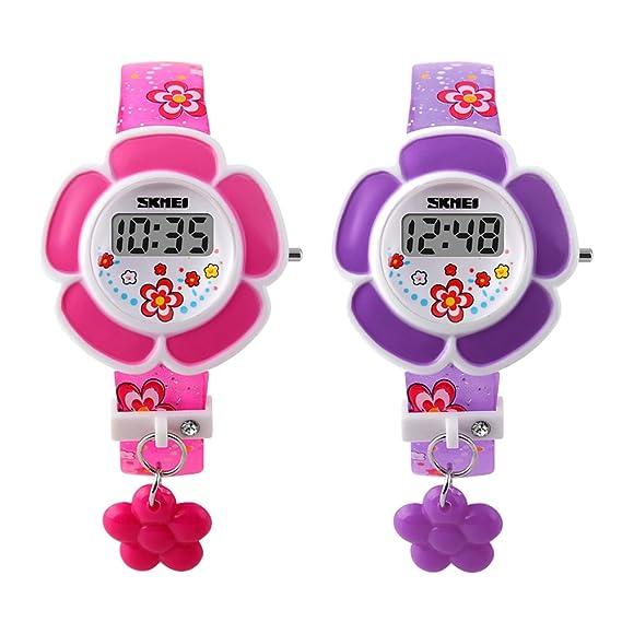 2 piezas niñas reloj rosa y morado de flores Patern FECHA LED Digital reloj de pulsera: Amazon.es: Relojes