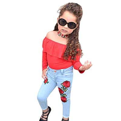 88defc3fd235 Sunbona 2pcs Set Outfits Infant Baby Girls Princess Off Shoulder  Blouse+Rose Flower Demin Pants