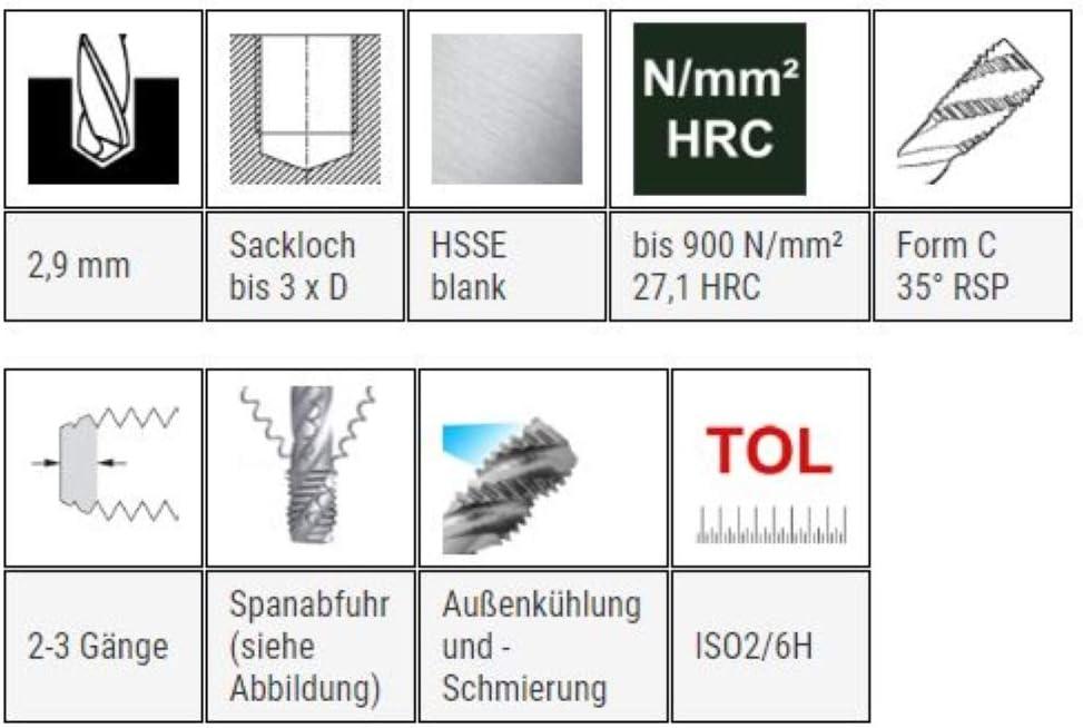 M 7 x 1,0 DIN 371 HSSE Maschinengewindebohrer 35/° RSP Gewindeschneider Gewindebohrer metrisch