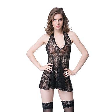 5054c507 Woman Sexy Babydolls Sexy Lingerie Lace Halter Sleepwear Nightwear Backless  Erotic Chemises Black (M)