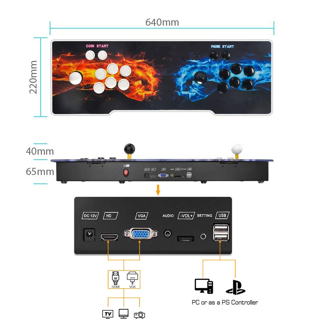 3D Pandora Key 7 Arcade Console | 2177 Games Pre-loaded | Support 2D/3D Games | Add More Games | Full HD (1920x1080) Video | Support 4 Players | 2 Player Game Controls | HDMI/VGA/USB/AUX Audio Output by MYMIQEY (Image #6)