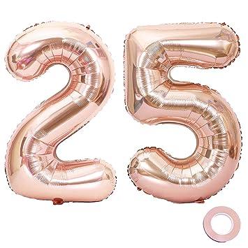Juland Oro Rosa Número 25 Globos Globos Grandes de Mylar de la Hoja 40 Pulgadas Número Gigante de Globos Gigantes para Decoraciones de Fiesta de ...