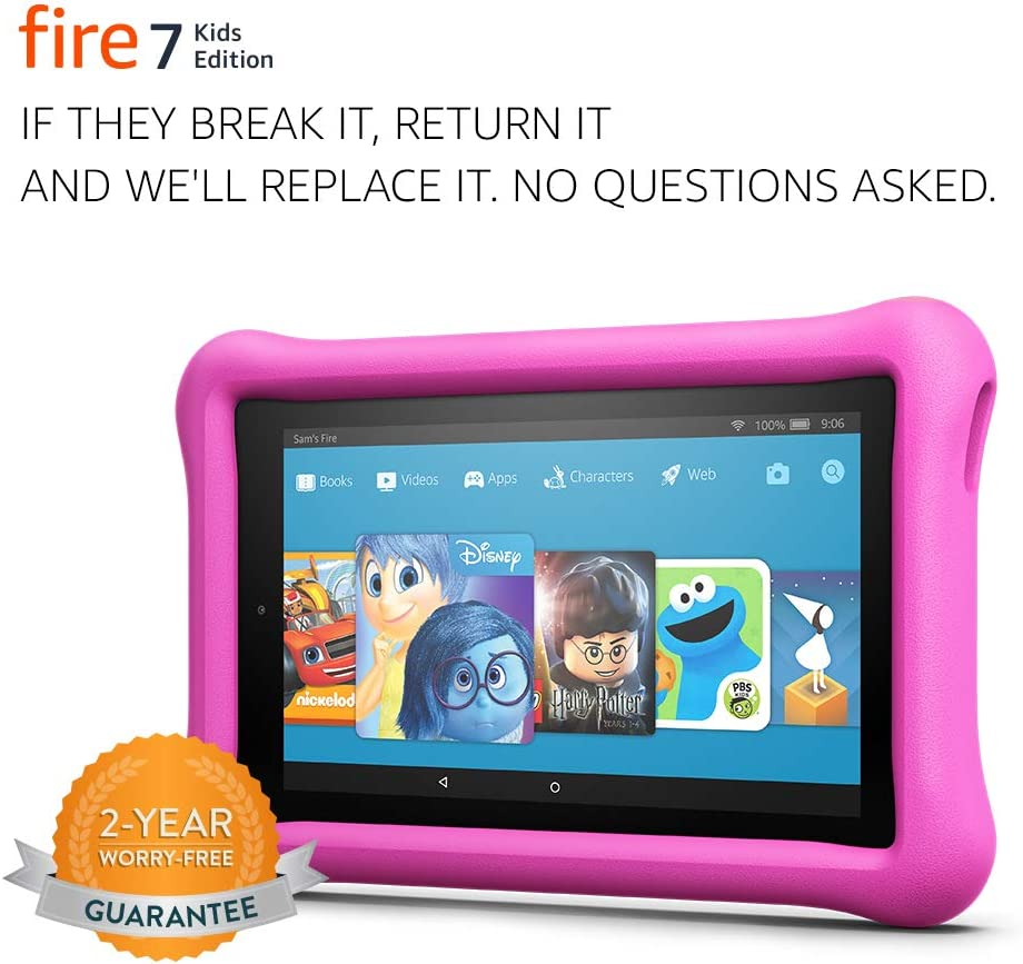 "Fire 7 Kids Edition Tablet, 7"" Display, 16 GB, Pink Kid-Proof Case - (Previous Generation - 7th)"