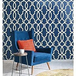 York Wallcoverings GE3668 Ashford Geometrics Hourglass Trellis Wallpaper, Dark Blue/White